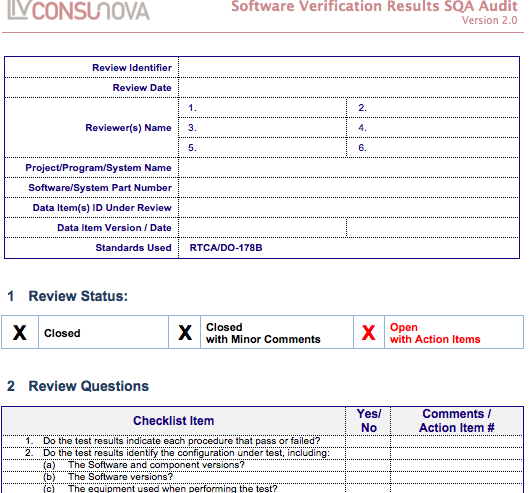 DO-178 SQA Verification Results Audit