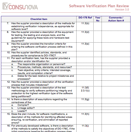 DO-178 Verification Plan Checklist (SVP)
