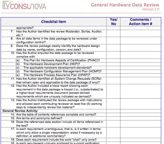 DO-254 General HW Data Review Checklist