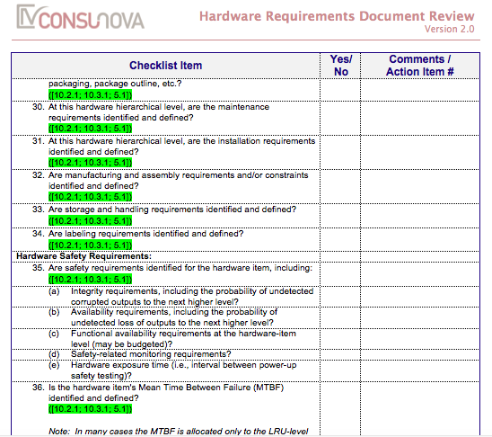 DO-254 Requirements Document Review Checklist