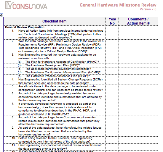 DO-254 Milestone Review Checklist