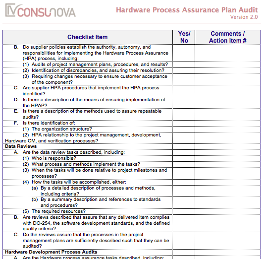 DO-254 PA Process Assurance Plan Audit (HPAP)