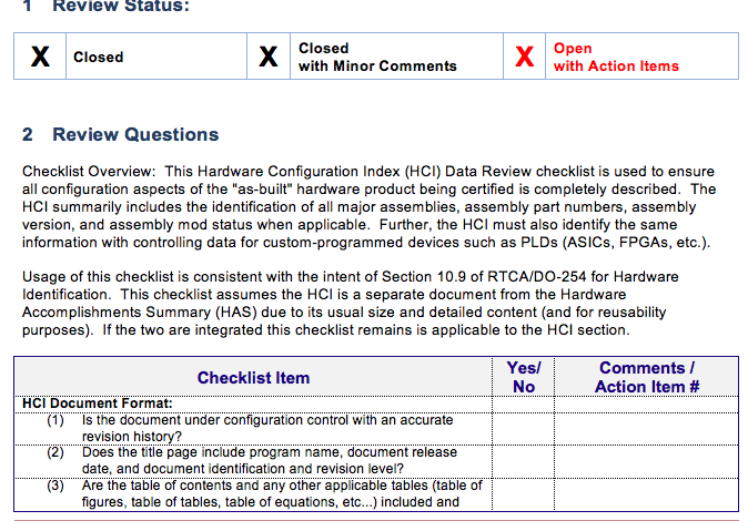 DO-254 Configuration Index Checklist (HCI)