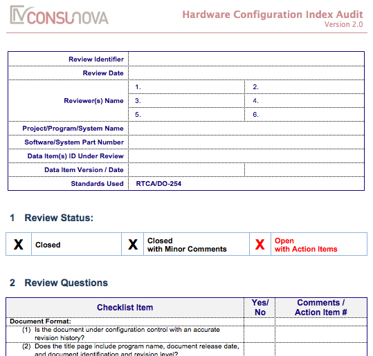 DO-254 PA Configuration Index Audit (HCI)