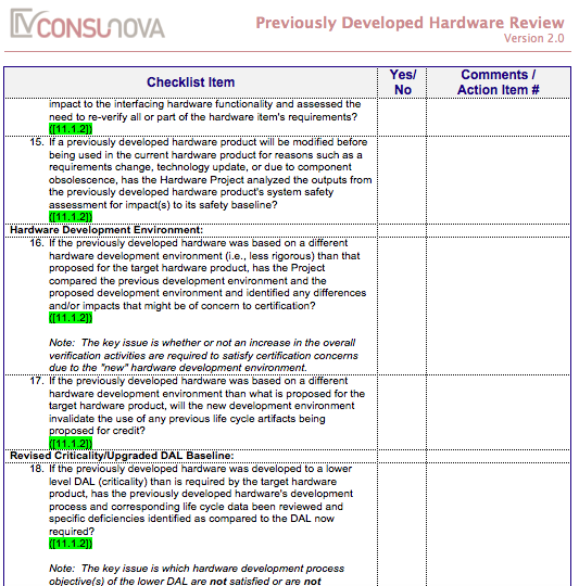 DO-254 Previously Developed HW Checklist (PDH