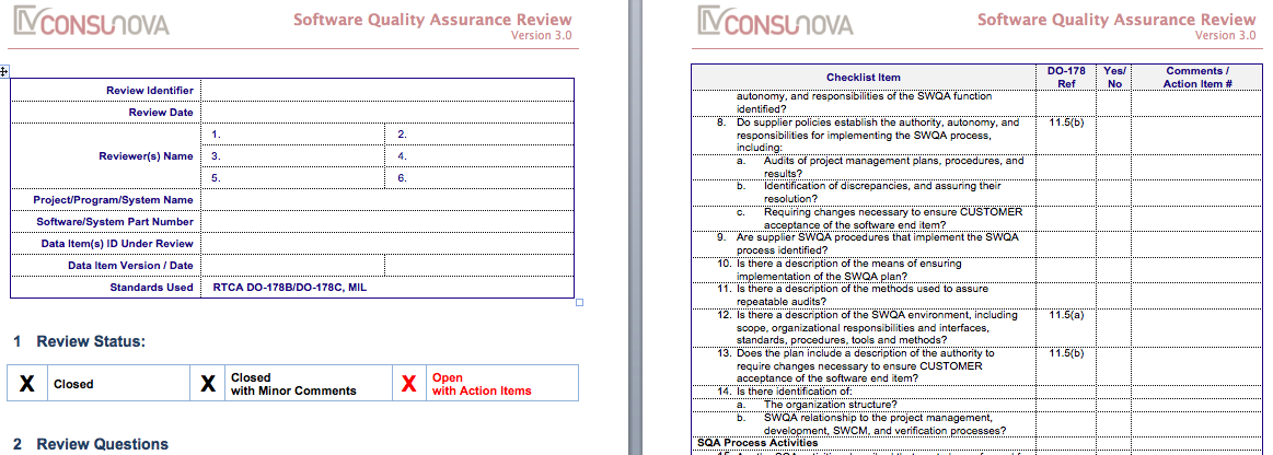 DO-178 Quality Assurance Checklist (SQAP)