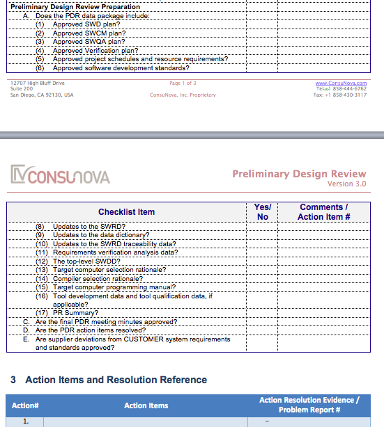 DO-178 Preliminary Design Checklist (PDR)